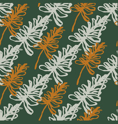 Autumn simple seamless pattern with outline vector