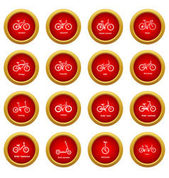Bicycle types icons set simple style vector