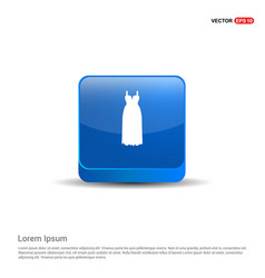 bride dress icon - 3d blue button vector image