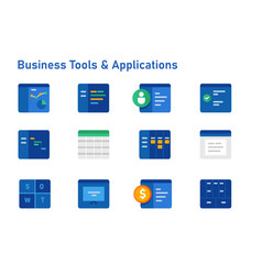 business tools and software applications icon set vector image