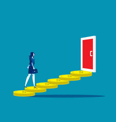 Business woman walk on coin to door concept vector