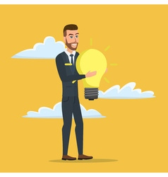 Businessman holding the idea of holding a lamp vector