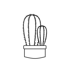 cactus in pot plants line style icon vector image