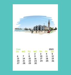 Calendar sheet layout june month 2021 year vector