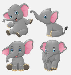 Cartoon funny elephants collection set vector