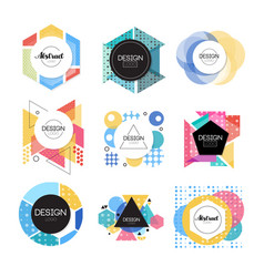 colorful abstract design logo set geometric shape vector image