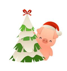 cute cartoon pig behind christmas tree vector image