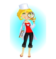 cute doctor with magnifying glass vector image