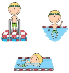 Cute swimmer boys in the pool vector