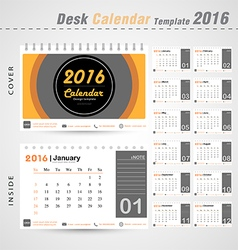 Desk calendar 2016 modern Circle design cover vector