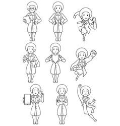 Doctor african female line art vector