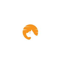 Dog face head with sunset logo design vector