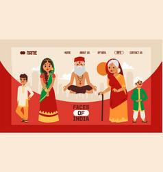 faces india banner web design vector image