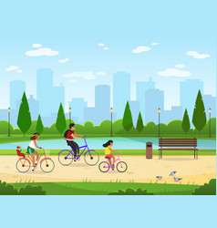 family cycling active family vacation riding vector image