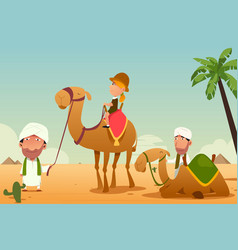 Female tourist riding a camel in the desert vector