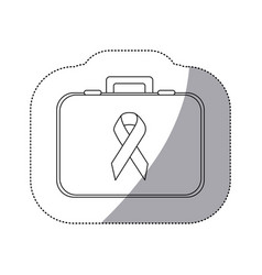 Figure personal bag with breast cancel symbol vector