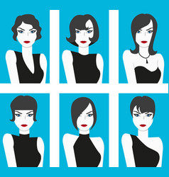 flat design style haircut set vector image