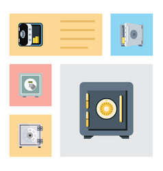 flat icon closed set of security saving coins vector image