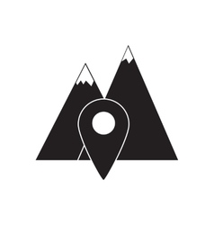 Flat icon in black and white mountain navigation vector