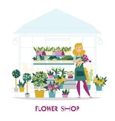 Florist shop seller composition vector