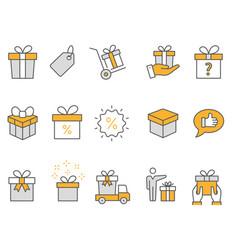 gift box icons set black vector image