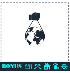 globe with hand icon flat vector image