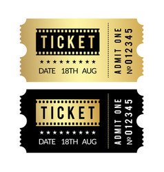 Golden ticket set cinema theater party museum vector