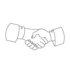 Handshake icon in outline style isolated on white vector image