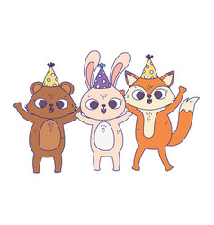 happy birthday cute bear rabbit and fox with vector image