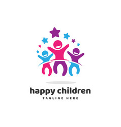 Happy children jump with star logo icon vector