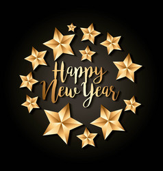 happy new year golden star luxury decoraton black vector image