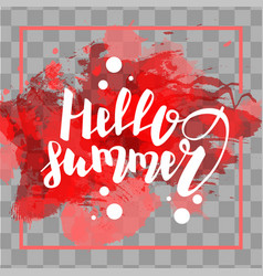 Hello summer red colored hand lettering vector