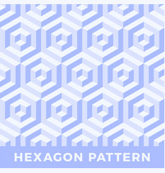 hexagon seamless abstract cube pattern blue color vector image