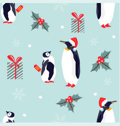 holiday pattern with lovely penguins vector image