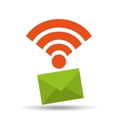 icon email envelope wifi internet vector image