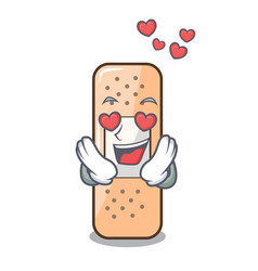 In love sticking plaster on mascot table vector