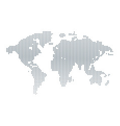 Isolated black and white color worldmap of dots vector