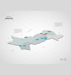 Isometric pakistan map with city names and vector