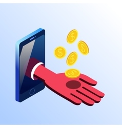 Isometric smartphone showing hand with coins vector