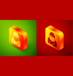 Isometric socrates icon isolated on green and red vector