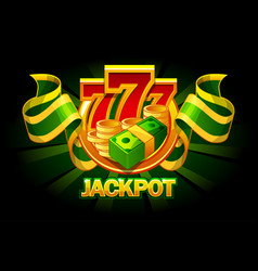 jackpot icon with coins money and 777 casino vector image