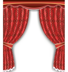 Luxury background with open red curtain vector image