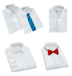 Male blank folded shirts set vector