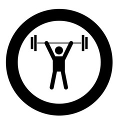 man uping weight black icon in circle vector image