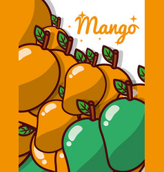 Mango fruit juicy sweet poster vector