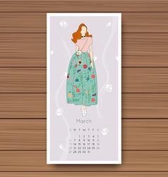 March Hand drawn fashion models calendar 2016 vector image
