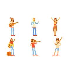 men and women hippie characters set happy people vector image