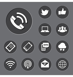 Mobile devices and network icons set vector
