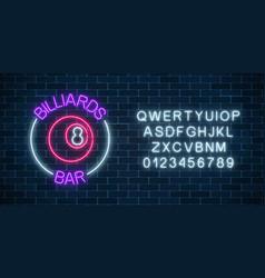 neon billiards bar sign with alphabet on a brick vector image