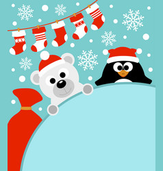 new year background card with penguin and bear vector image vector image